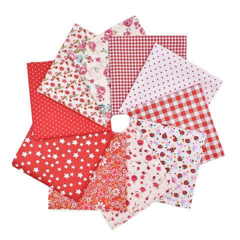 RayLineDo 10pcs 12 x 12 inches (30cmx30cm) Print Cotton Red Series Fabric Bundle Squares Patchwork DIY Sewing Scrapbooking Quilting Pattern Artcraft