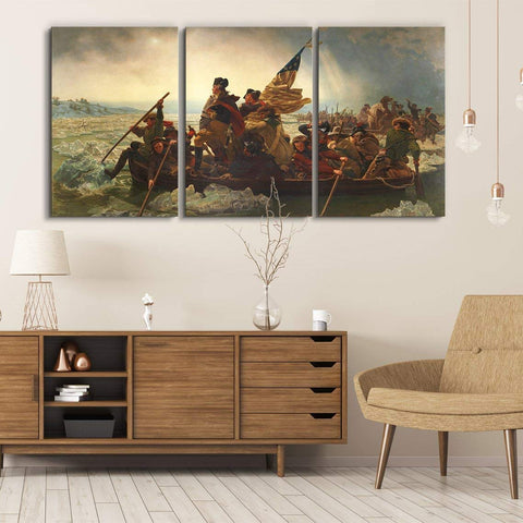 "wall26 3 Panel World Famous Painting Reproduction on Canvas Wall Art - George Washington Crossing The Delaware by Emanuel Leutze - Modern Home Decor Ready to Hang - 16""x24"" x 3 Panels"