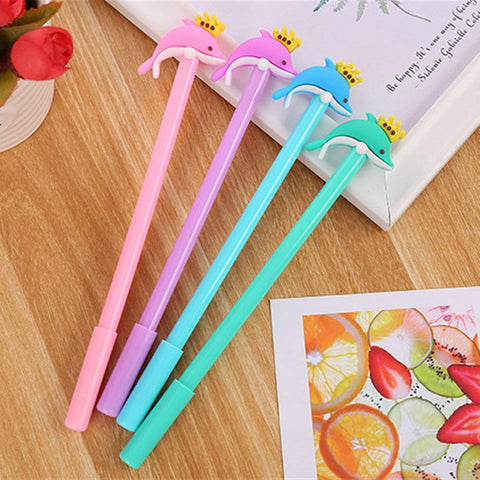 WIN-MARKET Animal Crown Dolphin Gel Ink Pen Cute Kawaii Black Writing Pens Ballpoint Black Ink Gel Pen Party Gift Gel Ink Pens Funny School Stationery Office Supplies(8PCS)