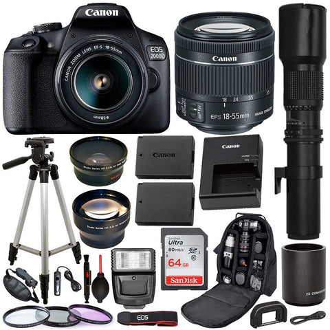 Canon EOS 2000D (Rebel T7) Digital SLR Camera with 18-55mm is II Lens Kit & Professional Accessory Bundle - Package Includes: SanDisk Ultra 64GB SDXC Memory Card, Spare Battery, 3PC Filter Set & More