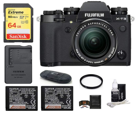 Fujifilm X-T3 Mirrorless Digital Camera with XF 18-55mm f/2.8-4 R LM OIS Zoom (Black) Bundle, Includes: SanDisk 64GB Extreme SDXC Memory Card, Spare Fujifilm NP-W126S Battery + More
