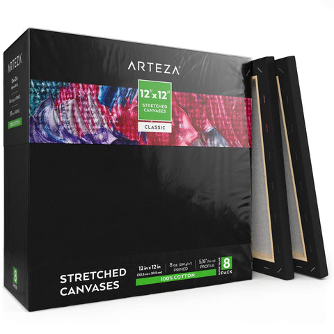 Arteza 12x12 inch Black Stretched Canvas for Painting, Pack of 12, Primed, 100% Cotton, Acid-Free, for Acrylic & Oil Paint, Pouring Techniques & Wet Art Media