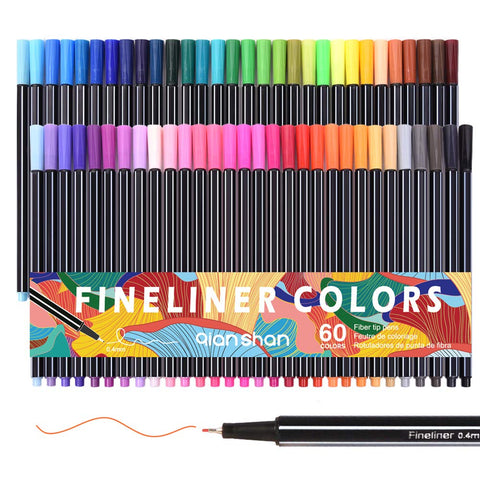 60 Colors Fineliner Pens Set - Fine Tip Pens 0.4mm Colored Fine Point Markers Pen for Writers Adults Coloring Books Drawing Writing Sketching Journal Planner Note Art Projects