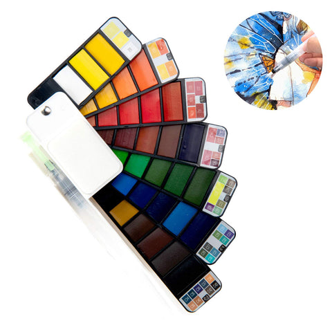 Watercolor Paint Set, 42Assorted Colors with 1 Water Brushes and Palette, for Artist,Kids & Adults Field Sketch Outdoor Painting Travel Pocket Watercolor Kit (42pcs)