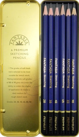 Fantasia Premium Sketching Soft Grades Pencils 6 Piece Set in Storage Tin Box