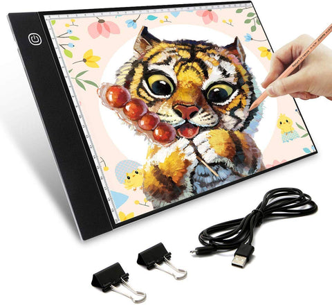 Elfeland Tracing Light Box, Ultra-Thin Portable A4 LED Artcraft Light Pad Light Tablet Tracer Stepless Dimmable Brightness with Smart Memory USB Powered Light Table Light Board for Drawing Sketching
