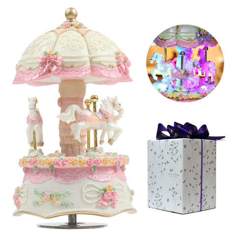 ACCOCO Carousel Music Box Luxury Color Change LED Light Luminous Rotating 3-Horse Carousel Horse Music Box Melody Happy Birthday to You(Happy Birthday, White)