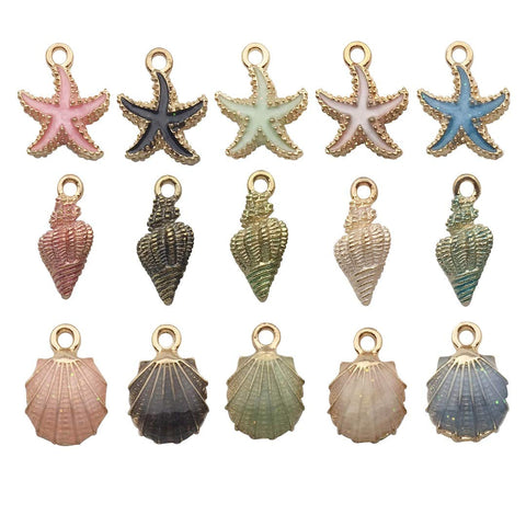 iloveDIYbeads 30pcs Assorted Gold Plated Enamel Ocean Starfish Conch Shell Charm Pendant for DIY Jewelry Making Necklace Bracelet Earring DIY Jewelry Accessories Charms M156