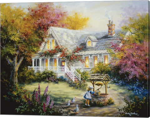The Wishing Well by Nicky Boehme Canvas Art Wall Picture, Gallery Wrap, 23 x 18 inches