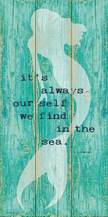 "Inspirational Mermaid Art Poster Print on Vintage Teal Rustic Background 12"" x 24"" E. E. Cummings Quote (Printed on Paper not Wood)"
