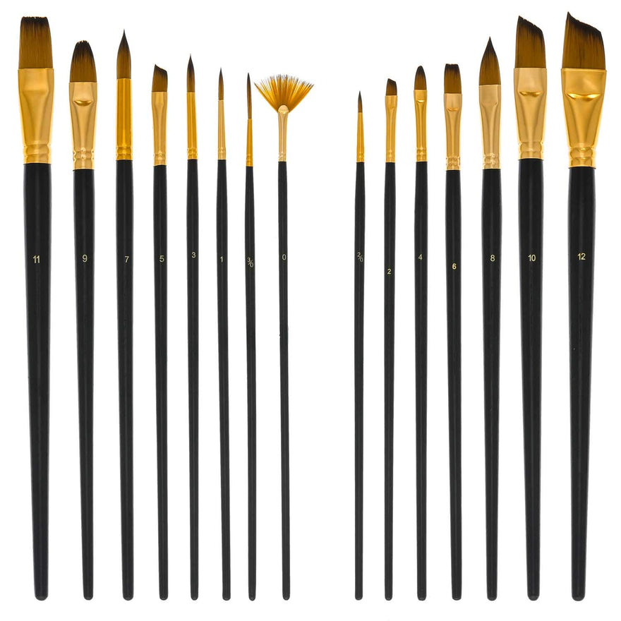 U.S. Art Supply 15 Piece Artist Long Handle Paint Brush Set in Zippered Nylon Pop-Up Travel Storage Case
