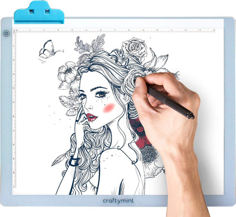"LED Light Pad by Craftymint - Large Ultra Thin 19"" Light Up Tracing Tablet - Portable USB Light Box for Diamond Painting and Light Drawing Board - Drawing Accessories and Gifts for Artists"