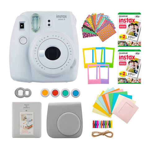 Fujifilm instax Mini 9 Instant Camera (Smokey White) with 40 Twin Film Pack and 7-1 Accessory Bundle (4 Items)