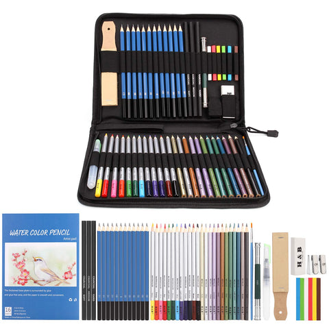 AGPTEK 53pcs Drawing and Sketching Pencil Set, with Pencil, Watercolor Pencil, Sketching Pencil Set & Canvas Zipper Case, Ideal for Artists, Sketchers, Teachers & Students