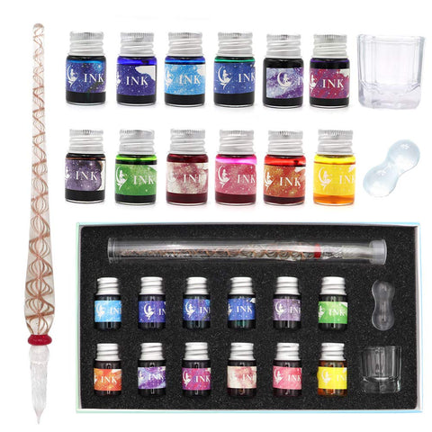 AXEARTE Glass Pens and Ink, Mermaid Glass Pen Set, Calligraphy Dip Pen Set - 12 Colorful Inks, Glass Pen Holder, Glass, Crystal Pen for Art, Writing, Drawing, Signatures, Decoration, Holiday Gift Set