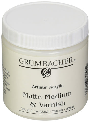 Grumbacher Artists' Acrylic Matte Medium and Varnish , 8 oz. Jar