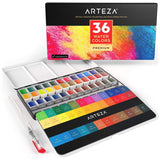 Arteza Watercolor Art Kit, 36 Watercolor Half Pans & 2 Expert Watercolor Pads, 9x12-inch, 32-Sheets Each for Professional Artists, Students, Beginners