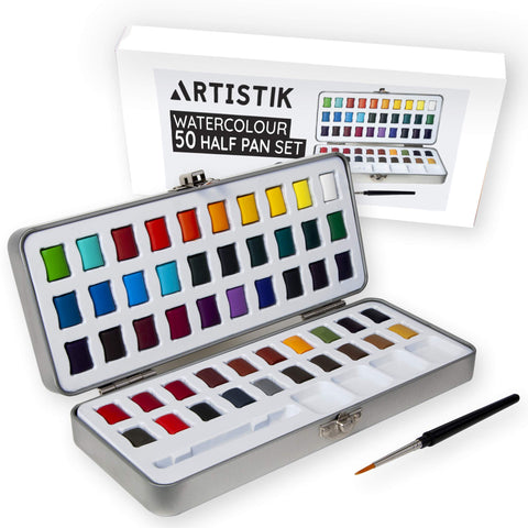 Artistik Watercolor Paint Set - 50 Colors in Half Pan Palette and Portable Metal Tin Premium Quality Assorted Vivid Color Paints with Paint Brush for Kids, Beginners Students & Artists