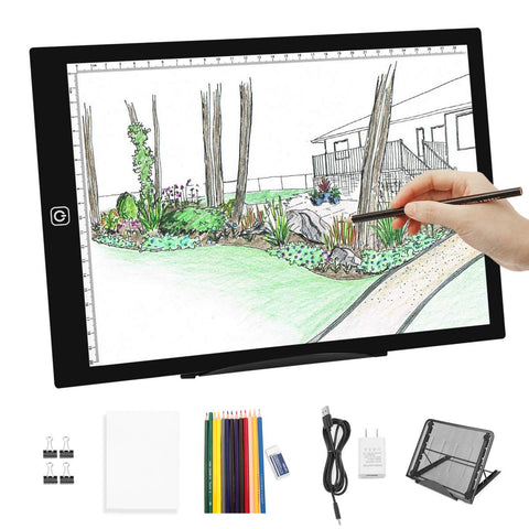 A4 LED Light Box Tracer-Dimmable Artcraft Tracing Light Pad Light Board Multi-Angle Stand 12 Colors Pencils & USB Charger for Artists Kids Beginners, Drawing Hand Lettering Sketching Animation