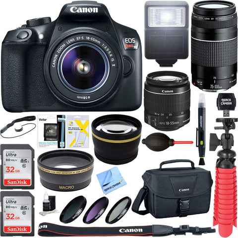 Canon EOS Rebel T6 DSLR Camera with 18-55mm is II and 75-300mm III Double Zoom Kit Bundle with 58mm Wide Angle and Telephoto Lens, 58mm Filter Kit, 2X 32GB Memory Card and Screen Protectors