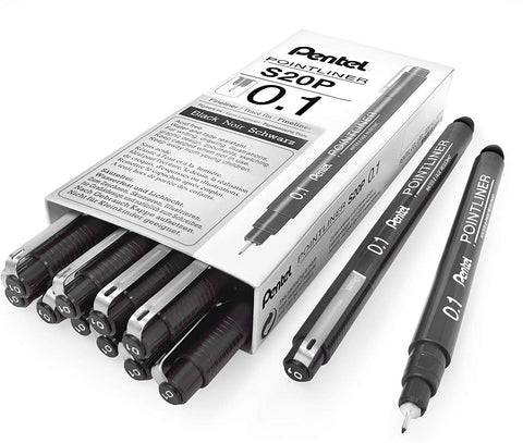 Pentel Arts Pointliner Drawing Pen, 0.1mm, Black Ink, Box of 12 Pens (S20P-1A)