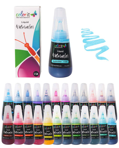 ColorIt Liquid Watercolor Ink Set of 24 Colors - Vibrant, Water-Based Dye Ink Colors, Non-Toxic, 1oz Watercolor Refills for ColorIt Watercolor Brush Pens