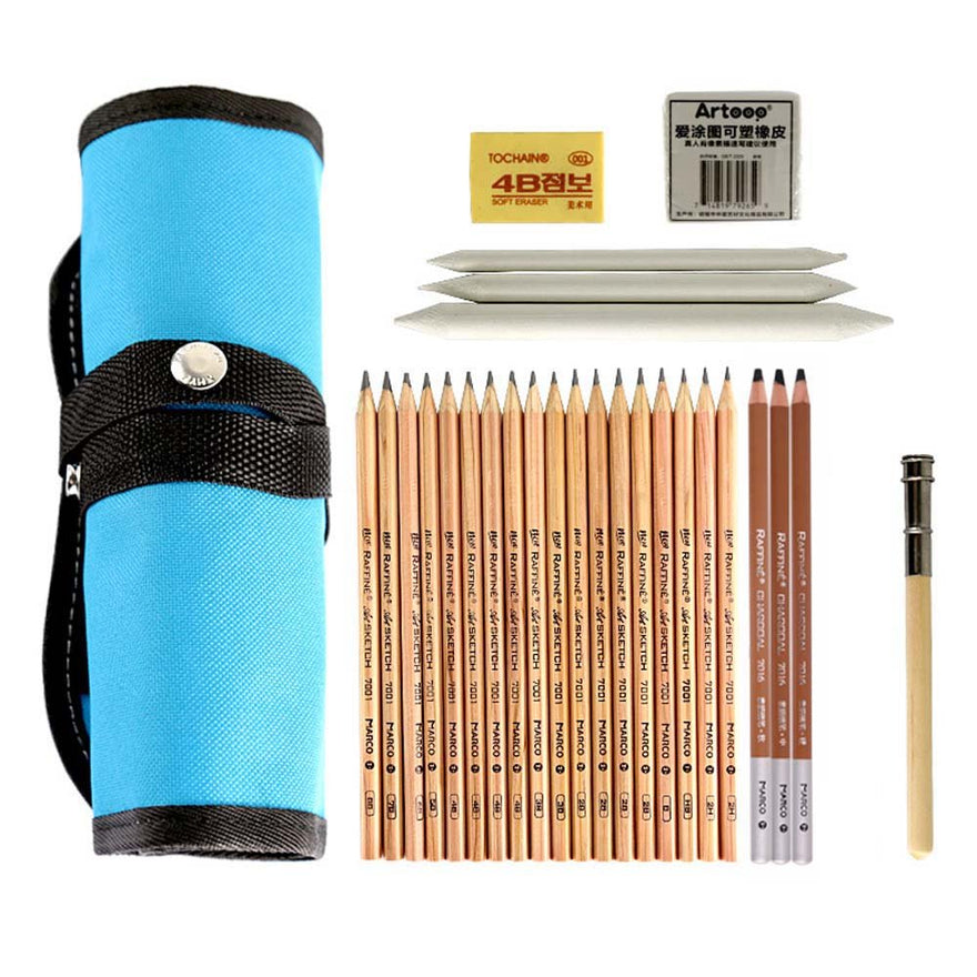 Rayauto 18 Pieces Pen Charcoal Sketch Set Sketching Pencil Set of Pencils Eraser Craft Pencil Extender Roll up Canvas Carry Pouch Pro Art Supply for Beginners Artist