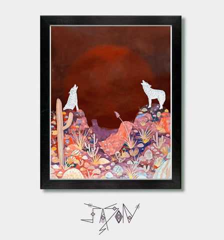 Voice of One - by Artist Jason Smith - Southwestern Decor, Southwest Art, Arizona, New Mexico, Coyote Print, Desert Artwork, Southwest Art Print, Desert Sunset, Sonoran Desert, Nevada, Boho Decor