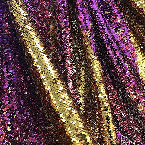 "Two-Sided Reversible Sequins Fabric on Stretch Mesh 58/60"" wide Sold BTY (Gold / Purple)"