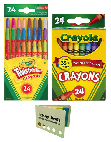 Crayola Crayons, 24 Count | Twistable Mini Crayons, 24 Count | Includes 5 Color Flag Set