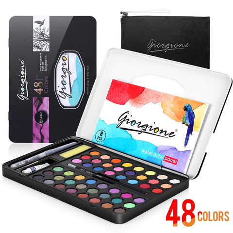 48 Watercolor Paints Set, AGPTEK Watercolor Professional Paint in Tin Box, Easy Mixed and Fast Dried, Portable Painting Set for Beginners, Artists and Kids