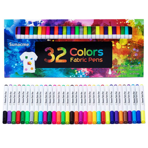 Fabric Markers Pen, 32 Colors Permanent Fabric Paint Pens Art Markers Set - Fine Tip, Child Safe & Non- Toxic for Canvas, Bags, T-Shirts, Sneakers