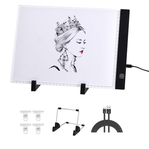 [3 in 1] Light Box for Tracing with Detachable Stand & Clips, Light up Tracing Pad for Diamond Painting, Water Color Paper, Slim Fabric