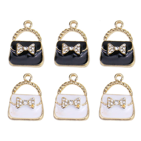 Monrocco 20Pcs Enamel Handbag Charm Handbag Purse Charm for Jewelry Making Bracelet Necklace (Black, White)