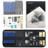 LGCBO 43-Piece Art Kit - Professional Sketching and Drawing Pencil kit in Zippered Carrying case - Art Supplies Including Drawing and Graphite Pencil, Eraser, Charcoal Stick, 2 Free Sketch Book
