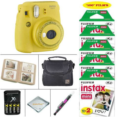 Fujifilm Instax Mini 9 Instant Camera (Cobalt Blue) + Fujifilm Instax Instant Film 100 Sheets + Battery & Cahrger + Photo Album +Convenient Case & Much More (Yellow)