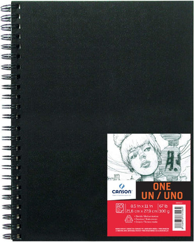 Canson ONE Art Book Paper Pad, Smudge Resistant Sketch Book Paper Pad, Wire Bound, 67 Pound, 8.5 x 11 Inch, 80 Sheets