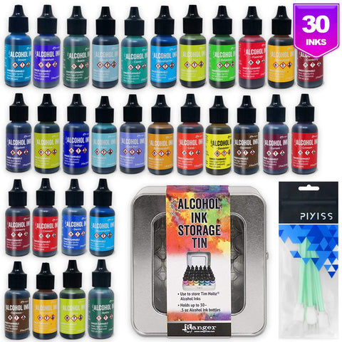 Ranger Alcohol Inks Set (30 Pack), Tim Holtz Alcohol Ink Storage Tin, 10 Pixiss Alcohol Ink Blending Tools for Alcohol Ink Paper (Assorted Colors, No Duplicates)