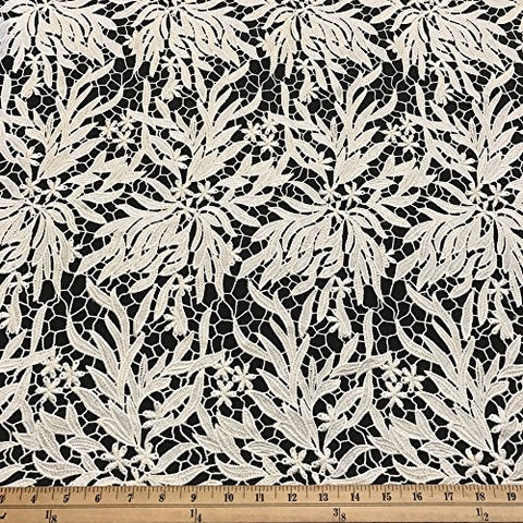 "Zahara Guipure Corded French Lace Embroidery Fabric 52"" wide Many Colors (Off White)"