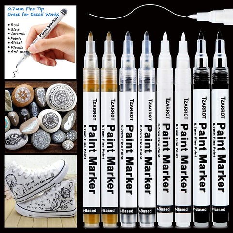 White Paint Pen, 8 Pack 0.7mm Acrylic Paint Pens with 2 White 2 Black 2 Gold 2 Silver Paint Pen Permanent Marker for Wood Rock Fabric Metal Plastic Ceramic Acrylic Paint Markers Extra Fine Tip