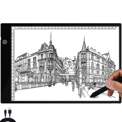 LED Drawing Tracing Pad, A4 LED Light Box Tracer Board with Adjustable Brightness USB Power for Artists, Drawing, Sketching, Animation, Diamond Painting, Copy