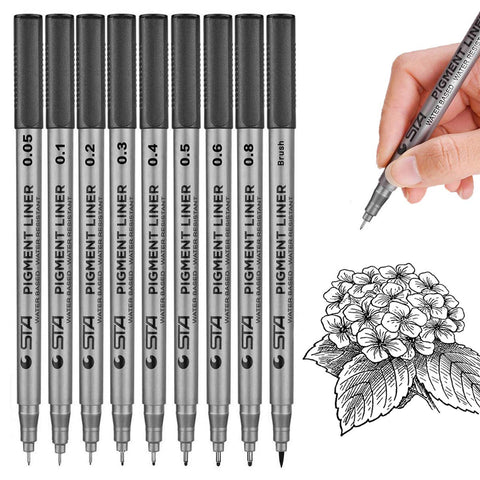 Black Micro-Pen Fineliner Ink Pens,Waterproof Archival Ink Micro Fine Point Drawing Pens for Sketching, Anime, Office Writing,Comic, Artist Illustration, Technical Drawing