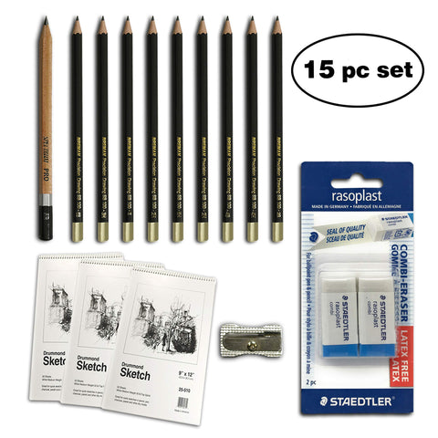 WA Portman 16-pc Sketch & Drawing Pencils Set I 10 Premium Drawing Pencils I 3 Sketch Books I 2 Staedtler Mars Erasers I 1 Sharpener I Sketching Supplies Kit for Artists of All Levels
