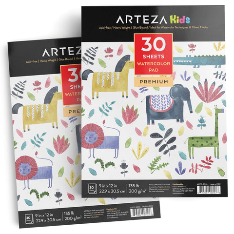 "Arteza 9X12"" Kids Watercolor Pad, Pack of 2, 60 Sheets (135lb/200gsm), Glue Bound Watercolor Paper, 30 Sheets Each, Durable Acid Free Watercolor Paper, Ideal for Watercolor Techniques and Mixed Media"