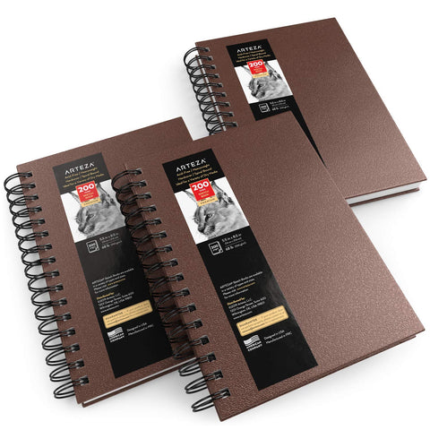 Arteza Sketch Book, 5.5x8.5-inch, 3-Pack, Brown Drawing Pads, 300 Sheets Total, 68 lb 100 GSM, Hardcover Sketchbook, Spiral-Bound, Use with Pencils, Charcoal, Pens, Crayons & Other Dry Media