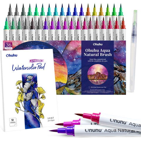 Watercolor Brush Markers Pens Set, Ohuhu 36 Colors Water-based Paint Marker with 12-Sheet Watercolor Pad & A Blending Aqua Brush, Nylon Brush Tip for Coloring Calligraphy Drawing, Valentine's Day Gift