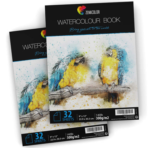 "64 Pages Watercolor Paper Pad, 9"" x 12"", for Watercolor Paint and Watercolor Pencils - 2 x 32 White Sheets 140lb/300 g - Pack of 2 Water Color Drawing Pad and Paint Paper Sketchbook for Art"