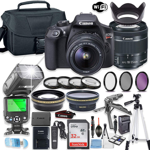 Canon EOS Rebel T6 DSLR Camera Bundle with Canon EF-S 18-55mm is II Lens + 32GB Sandisk Memory + Camera Case + TTL Speedlight Flash (Good Upto 180 Feet) + Accessory Bundle
