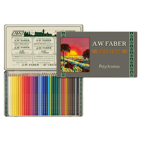 Faber-Castell Polychromos 111th Anniversary Limited Edition Wood Colored Pencil Tin - 36 Colors