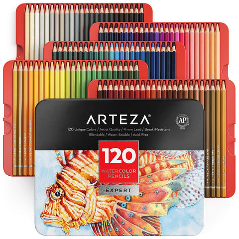 Arteza Professional Watercolor Pencils for Adults & Kids, Set of 120, Water-Soluble Colored Pencils for Coloring, Blending, Layering & Watercolor Techniques